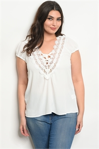 112-3-2-T58492X WHITE PLUS SIZE TOP 2-2-2