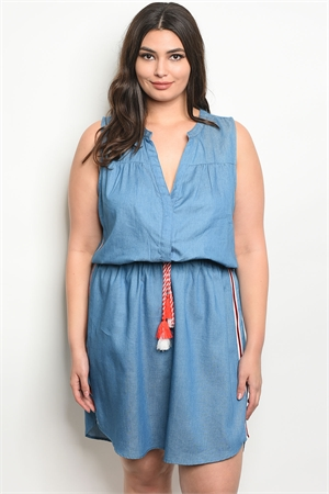 113-2-3-D59287X BLUE DENIM PLUS SIZE DRESS 2-2-2