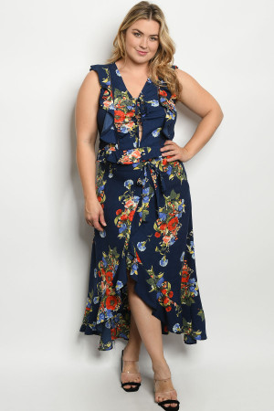 S17-7-2-SET51466X NAVY FLORAL PLUS SIZE TOP & SKIRT SET 2-2-2