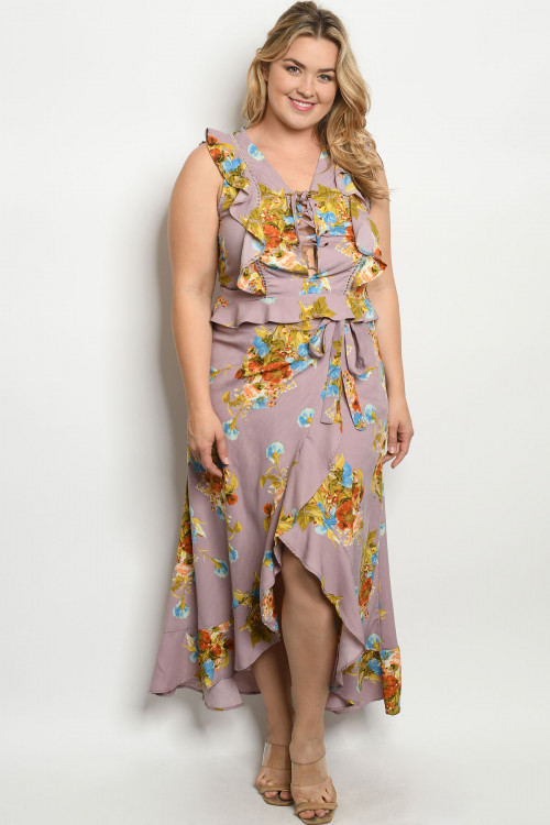 S22-4-2-SET51466X MAUVE FLORAL PLUS SIZE TOP & SKIRT SET 2-2-2