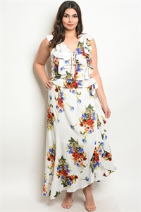 114-2-4-SET51466X IVORY FLORAL PLUS SIZE TOP & SKIRT SET 2-2-2