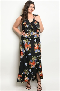 114-2-4-SET51466X BLACK FLORAL PLUS SIZE TOP & SKIRT SET 2-2-2