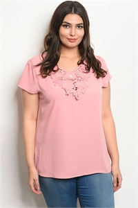 135-1-2-T51476X PINK PLUS SIZE TOP 2-2-2