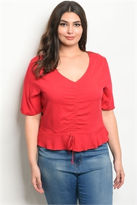 10-6-4-T25522X RED PLUS SIZE TOP 2-2-2