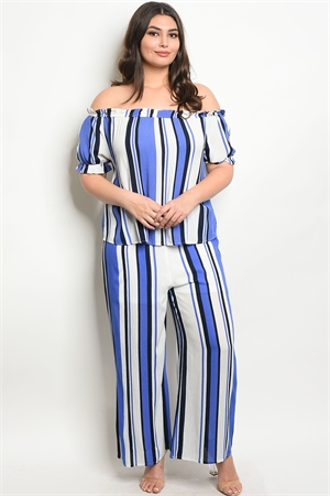 S23-5-1-SET16905X BLUE NAVY STRIPES PLUS SIZE TOP & PANTS SET 2-2-2