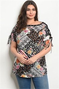 125-2-4-T38663X BLACK IVORY FLORAL PLUS SIZE TOP 2-2-2
