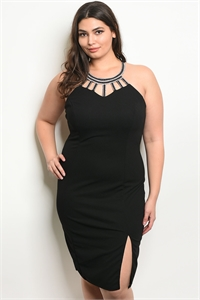 C6-A-5-D9796X BLACK WITH BEATS PLUS SIZE DRESS 2-2-2