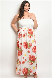 C49-A-5-D0029X WHITE RED PLUS SIZE DRESS 2-2-2