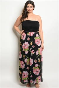 C43-A-4-D0029X BLACK PINK PLUS SIZE DRESS 2-2-2