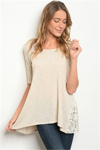 C95-B-5-T6421 OATMEAL LACE TOP 2-2-2