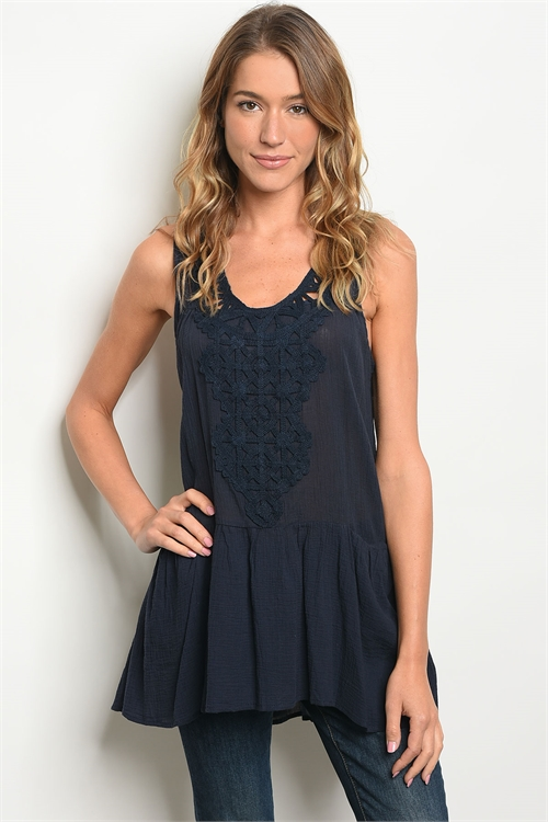 111-4-1-T10481 NAVY CROCHET TOP 2-2-2