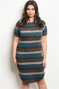 C25-A-5-D9718X BROWN TEAL STRIPES PLUS SIZE DRESS 2-2-2