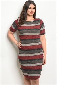 C25-A-5-D9718X WINE CHARCOAL STRIPES PLUS SIZE DRESS 2-2-2