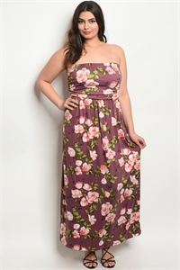 C45-A-6-D79541X PURPLE FLORAL PLUS SIZE DRESS 2-2-2