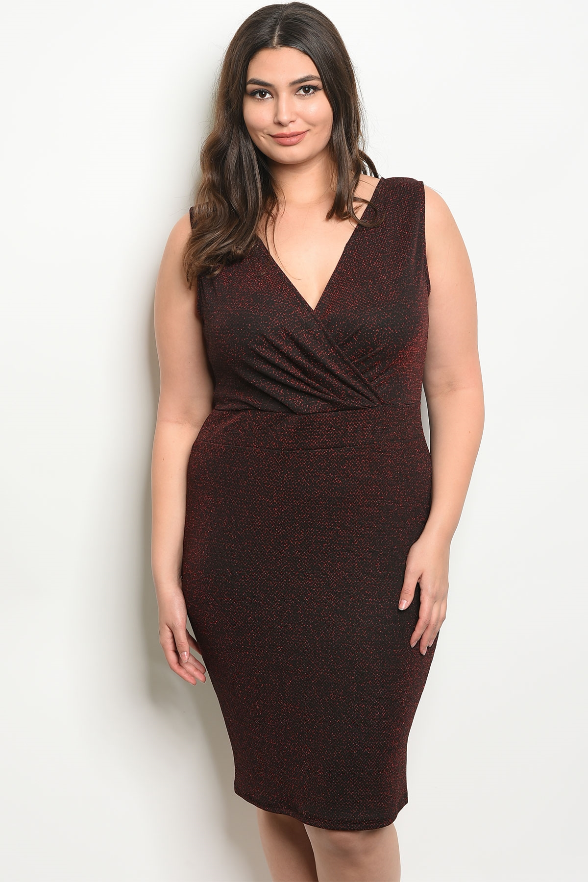 C39-A-1-D9717X BLACK RED SHIMMER PLUS SIZE DRESS 2-2-1