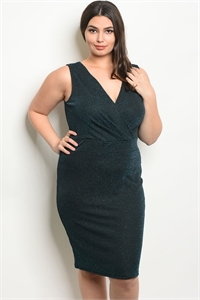 C55-A-2-D9717X BLACK TEAL SHIMMER PLUS SIZE DRESS 2-2-2