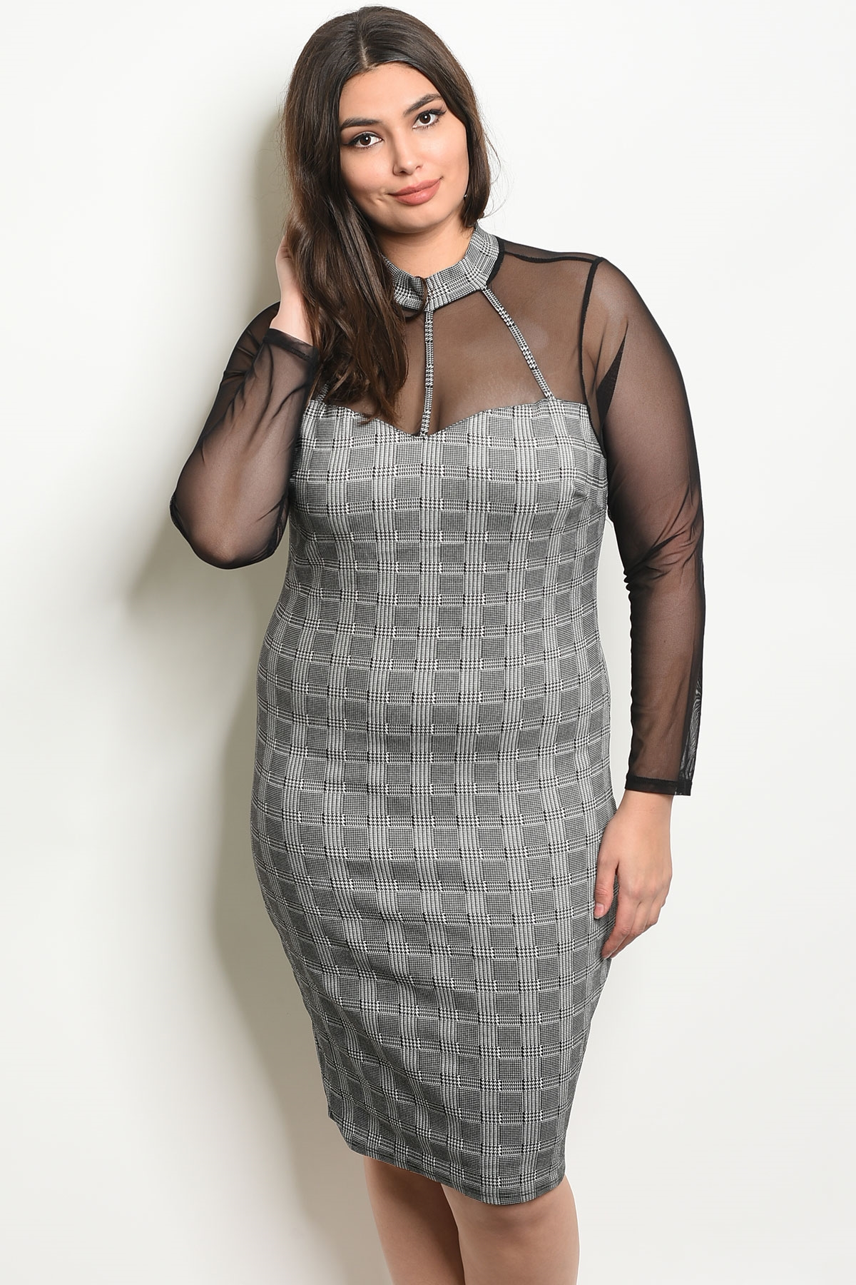 C48-A-5-D9929X BLACK WHITE CHECKED PLUS SIZE DRESS 2-2-2