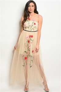 S18-6-1-D2186 NUDE WITH FLOWER EMBROIDERY DRESS 2-2-2