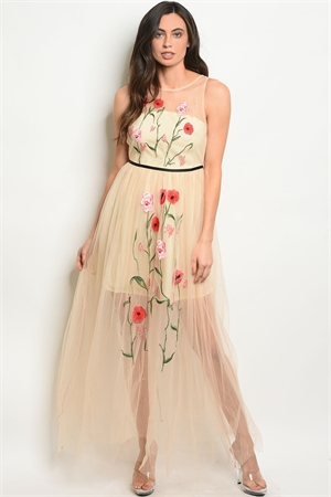 S17-6-3-D2186 NUDE WITH FLOWER EMBROIDERY DRESS 1-1-1
