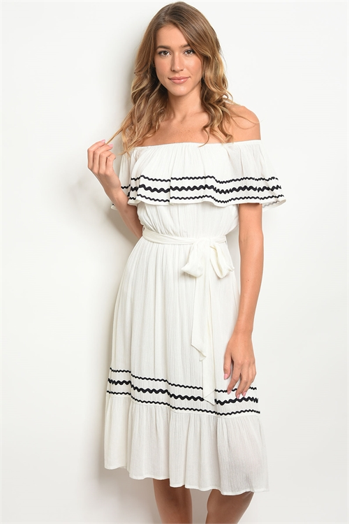 S22-2-2-D32207 OFF WHITE BLACK DRESS 3-2-1