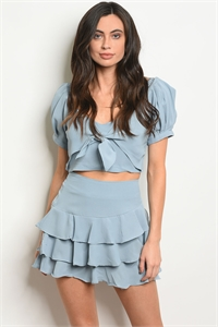 S18-6-5-SET13581 BLUE TOP & SKIRT SET 3-2-1