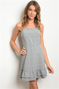 S15-4-4-D32181 GRAY BLACK CHECKED DRESS 3-2-1