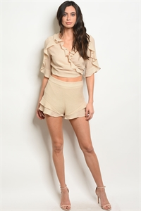 136-2-5-S71811 BEIGE SHORTS 3-2-1  *** TOP NOT INCLUDED***