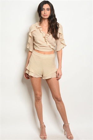 S23-11-1-S71811 BEIGE SHORTS 3-2-1  *** TOP NOT INCLUDED***
