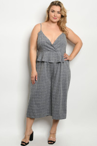 C84-A-2-J1976X BLUE CHECKERED PLUS SIZE JUMPSUIT 2-2-2