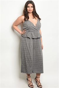 C86-A-6-J1976X GRAY CHECKERED PLUS SIZE JUMPSUIT 2-2-2