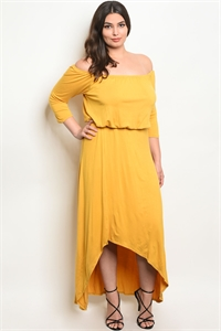C86-A-6-D7905X MUSTARD PLUS SIZE DRESS 2-2-2