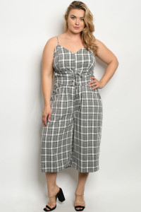 C90-A-7-J7924X GRAY WHITE CHECKERED PLUS SIZE JUMPSUIT 2-2-2