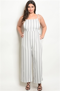 C100-A-2-J7849X OFF WHITE BLACK STRIPES PLUS SIZE JUMPSUIT 2-2-2