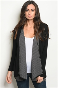 C2-B-4-C8193 BLACK WHITE CARDIGAN 2-2-2