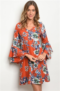 C18-A-2-D13235-1 ORANGE NAVY FLORAL DRESS 2-2-2