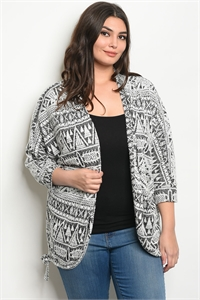 C74-B-2-C11479X GRAY OFF WHITE PLUS SIZE CARDIGAN 2-2-2