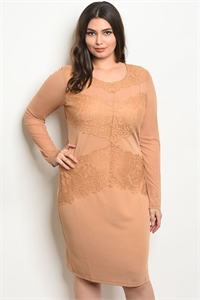 110-2-3-D2423X TAUPE PLUS SIZE DRESS 2-2-2