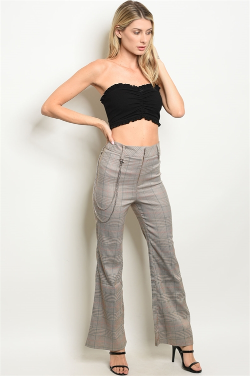 112-2-3-P11984 TAUPE CHECKERED PANTS 1-2-2-2-1