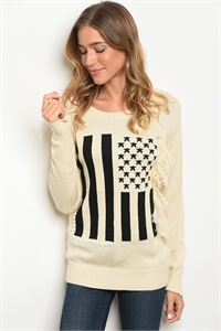 113-4-4-S70037 CREAM BLACK SWEATER 3-3