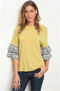 C20-B-6-T7878-2 MUSTARD NAVY PLAID TOP 2-2-2
