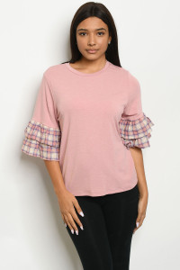 C20-B-6-T7878-2 MAUVE PURPLE PLAID TOP 2-2-2