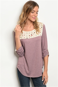 C24-B-5-T3392-17 WINE CREAM STRIPES TOP 2-2-2