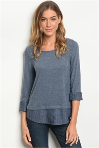 C26-B-6-T3378-4 INDIGO DENIM TOP 2-2-2