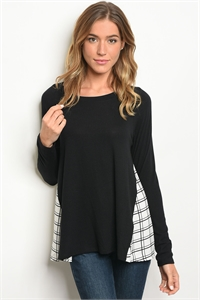 C64-B-4-T2238-11 BLACK WHITE PLAID TOP 2-2-2
