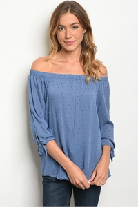 C70-B-6-T4810-9 INDIGO OFF SHOULDER TOP 2-2-2