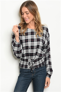 S14-9-6-T13141 BLACK WHITE CHECKERED TOP 3-2-1