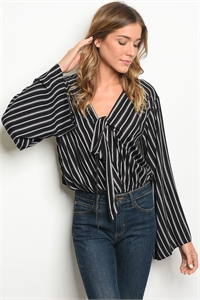 114-2-1-B13488 BLACK CREAM STRIPES BODYSUIT 3-2-1