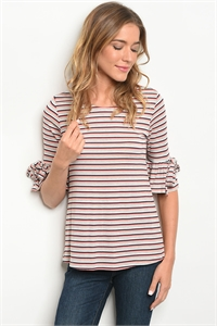 C97-B-6-T305 IVORY CORAL STRIPES TOP 3-2-1