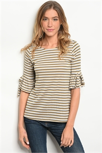 C97-B-6-T305 IVORY MUSTARD STRIPES TOP 3-2-1