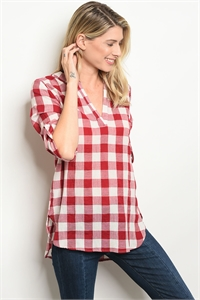 S14-8-6-T3383 RED CREAM CHECKERED TOP 2-2-2